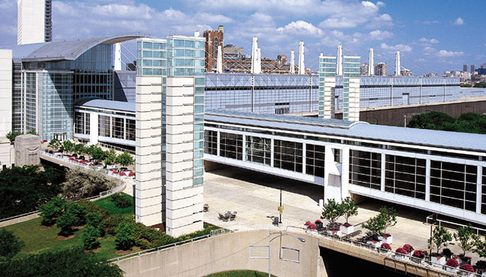 Image of the McCormick Place North Building overlooking the Chicago Skyline.